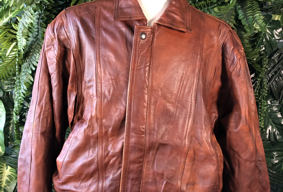 90s tan leather bomber