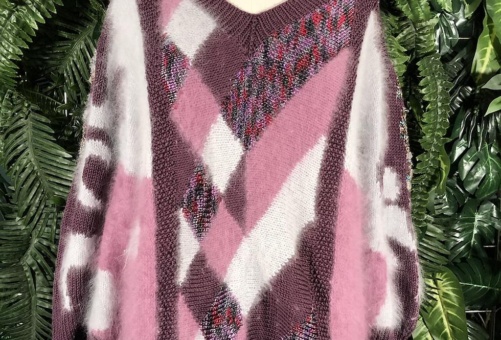 80s angora patcwork knit