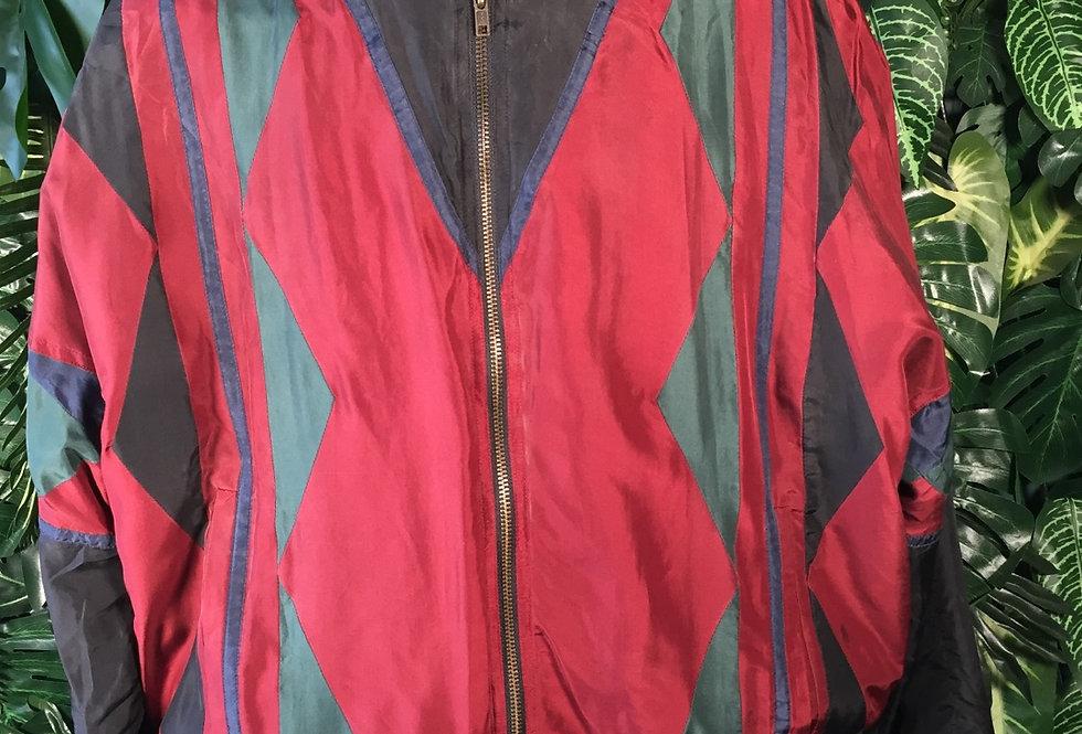 Noble silk harlequin pattern bomber (XL)
