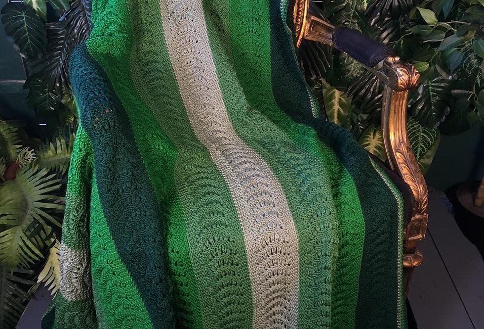 Hand made green stripe blanket