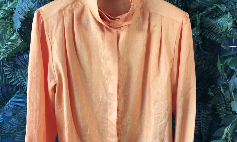 1980s yellow pleated collar blouse