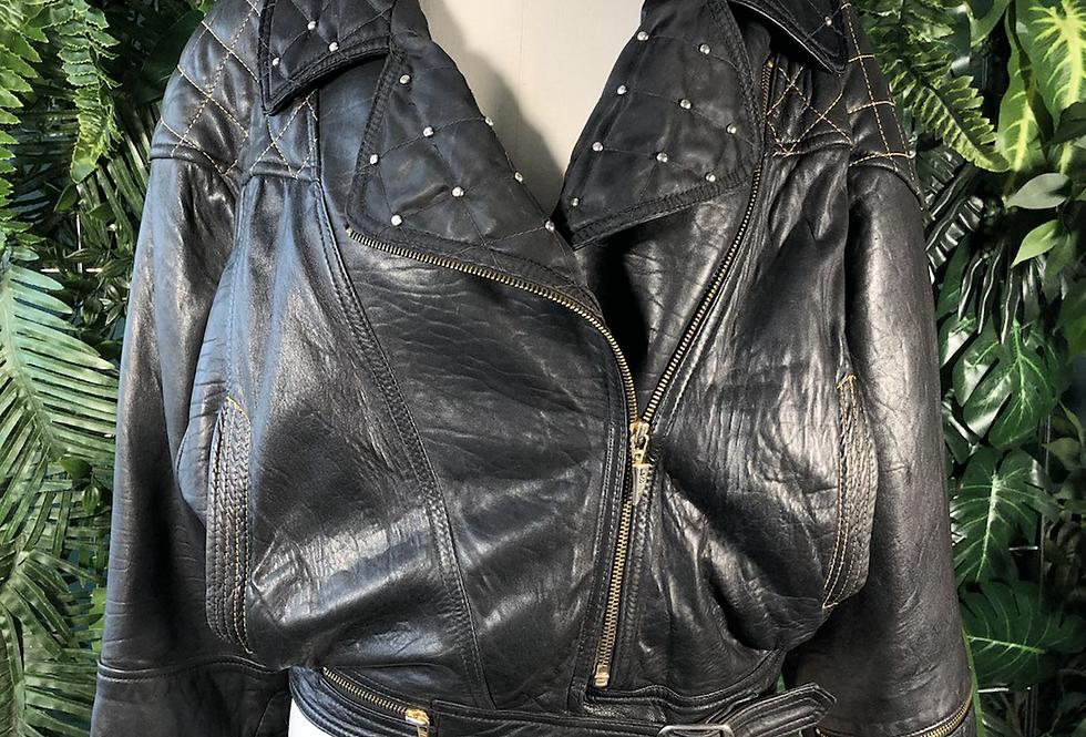 90s padded leather jacket