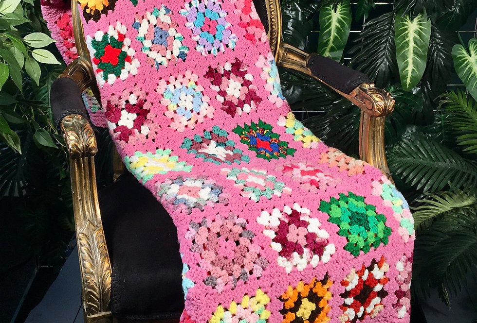 1980s Hand Crocheted Patch Blanket