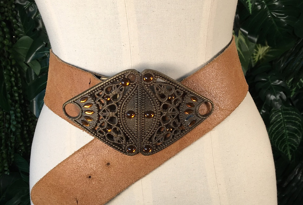 Suede belt with ornate buckle