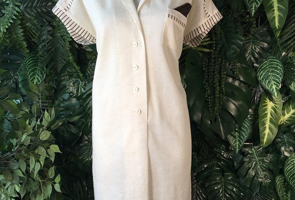 Handmade 1970s cap sleeve shirt dress
