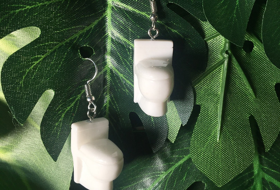 Toilet bowl earrings