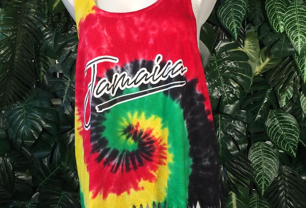 Jamaica tie dye fringe vest (XL)