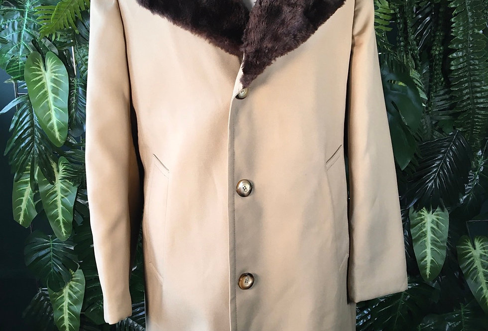 90s Overcoat With Faux Trim Collar (L)