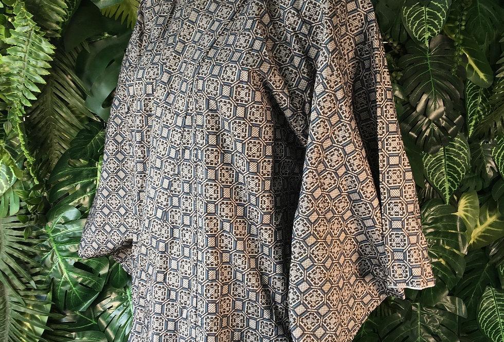 Geometric woven print kimono