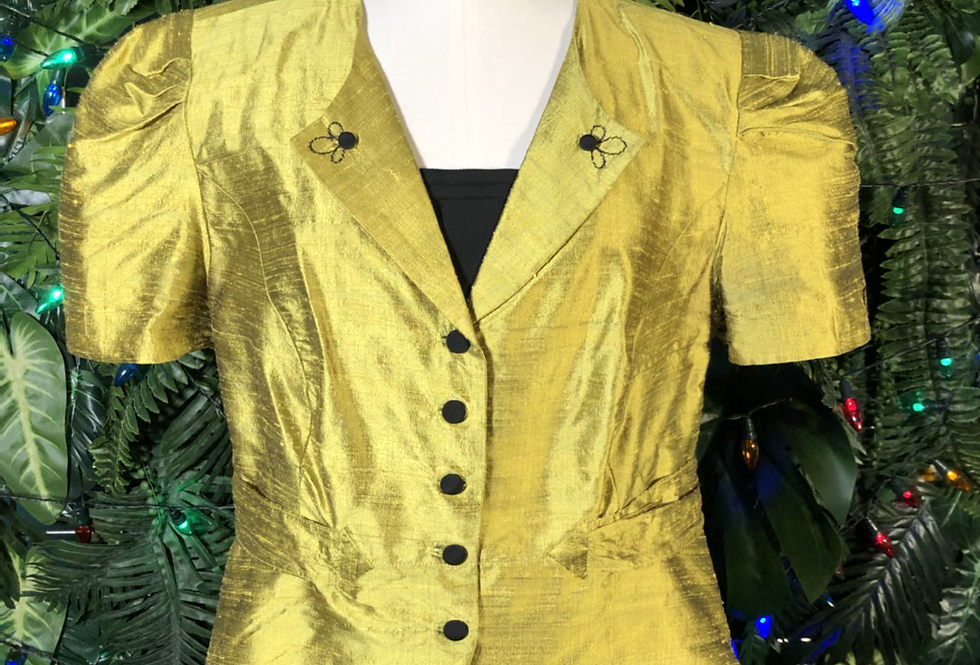 Lime Gold and black blouse