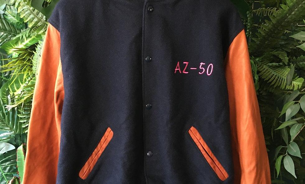 Genetron 1990s fleece bomber with leather sleeves