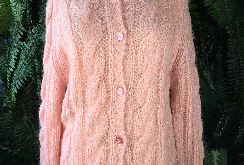 Powder Pink Hand Knit Cardigan (M/L)