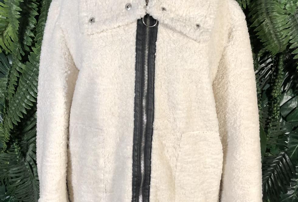 Faux sheepskin zip down jacket