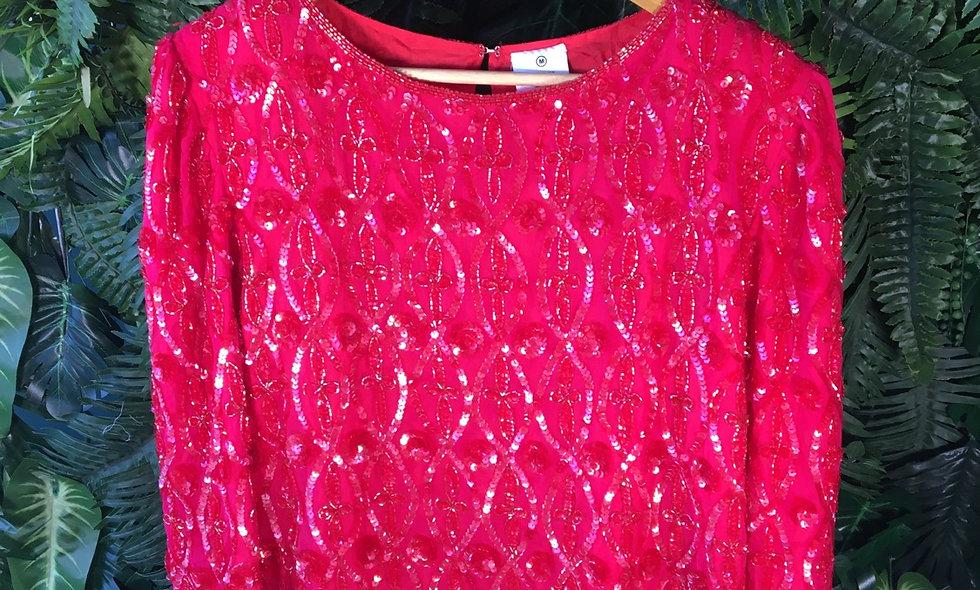 Silk Beaded Sequin Blouse (M)