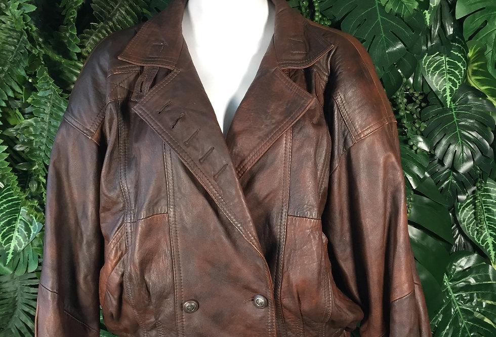 1980s leather panel jacket (size 44)