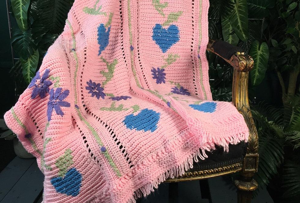 Hearts and Flower Handmade Throw