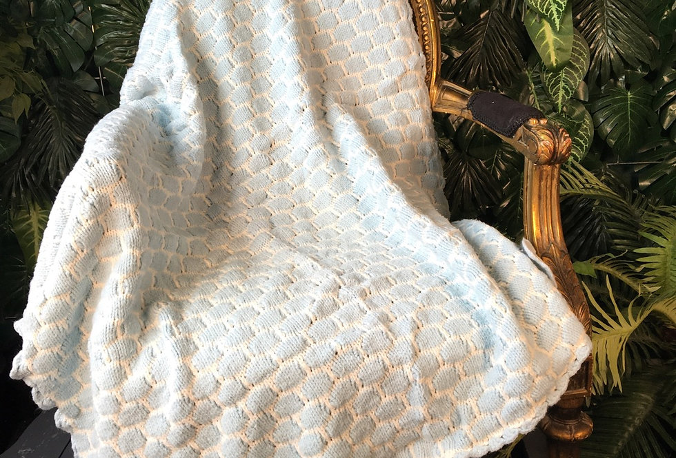 Baby blue and white hand crocheted blanket