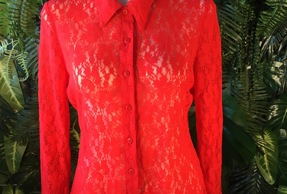 Elements red lace shirt