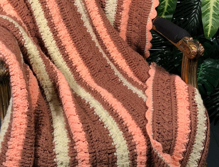 1980s large hand crocheted blanket