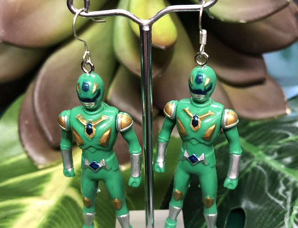 Green power ranger earrings