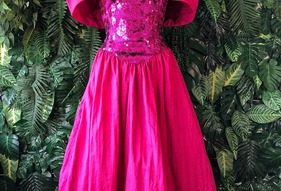 1980s pink sequin prom dress