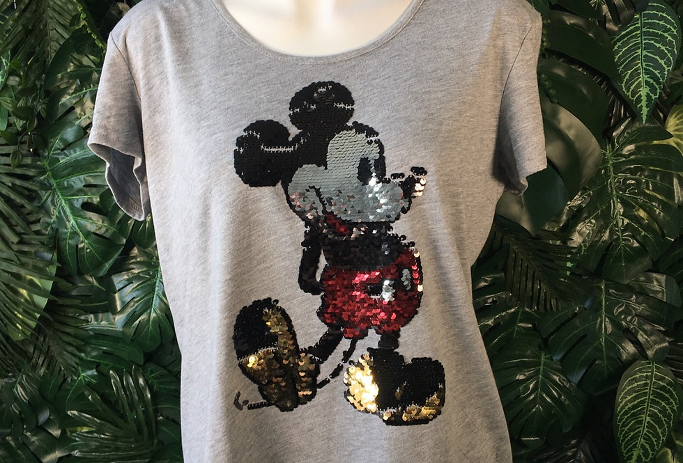 Sequin Mickey Mouse tee (L)