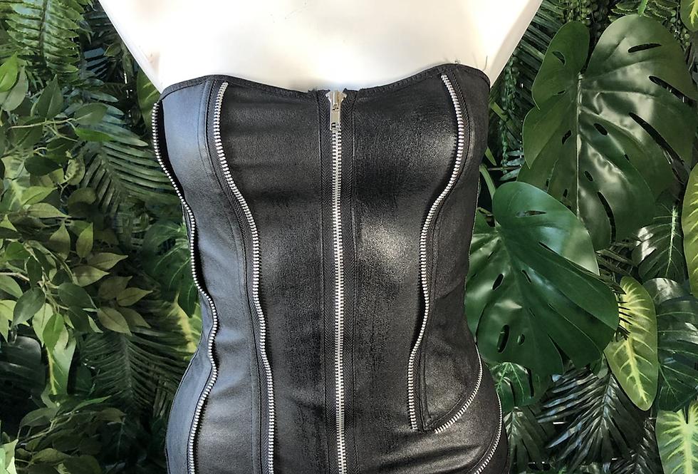 Kiss me pvc zipper corset
