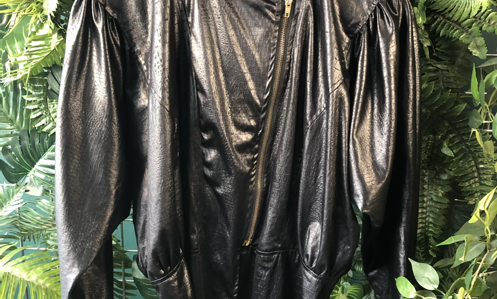 1980s leather look jacket blouse
