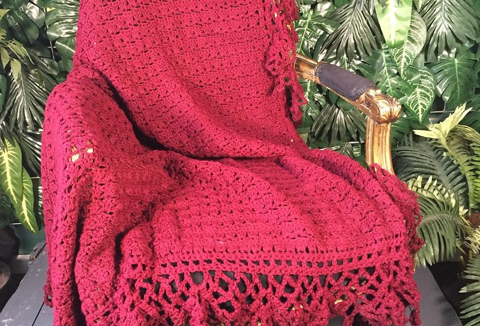 Burgundy hand crocheted blanket