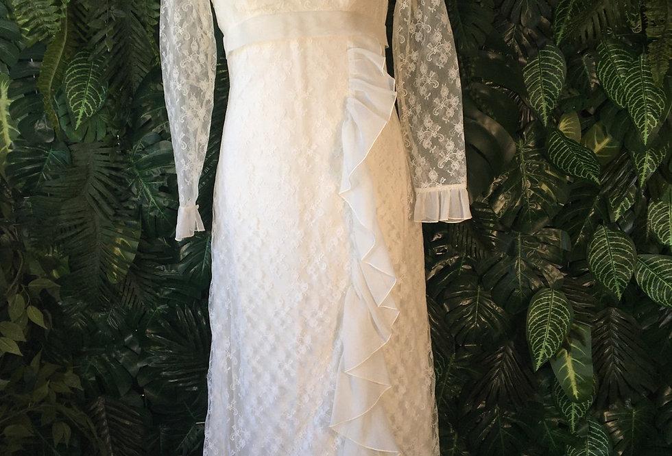 White lace & ruffle dress (size 10)