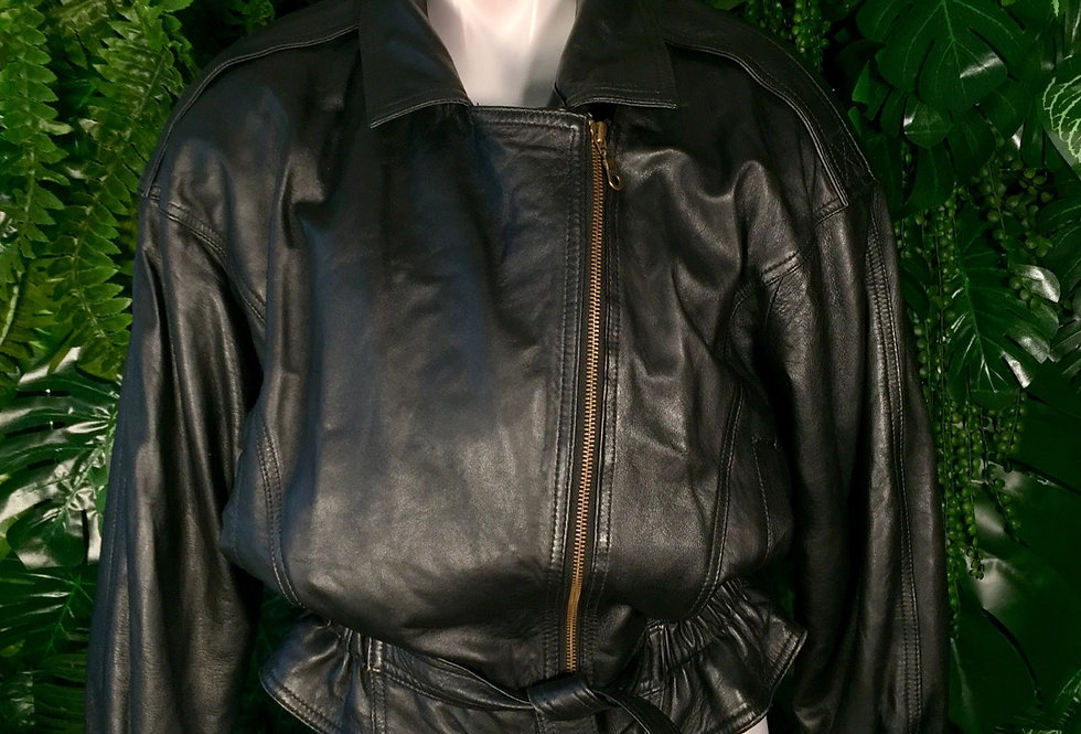 C&a belted leather jacket (M)