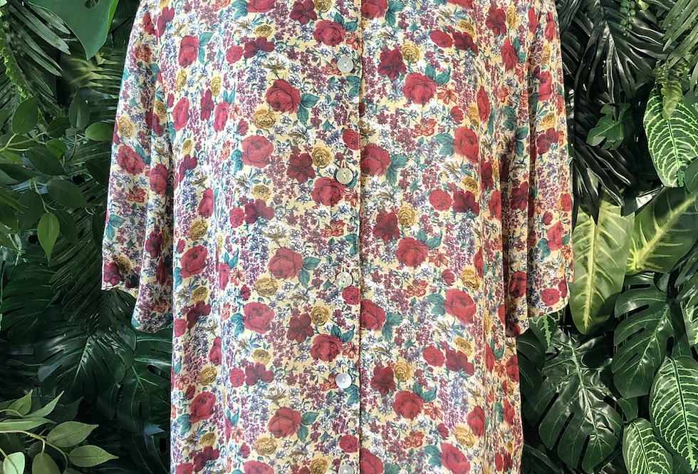 90s floral shirt sleeve shirt