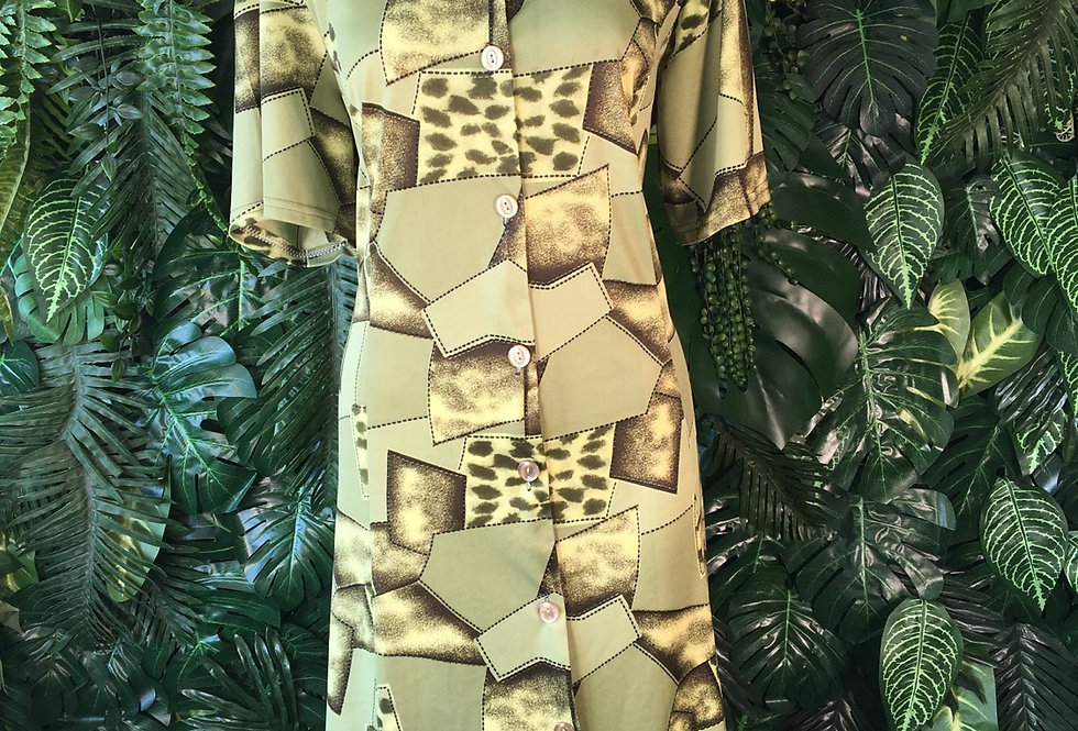 Abstract 90s shirt dress (size 16)
