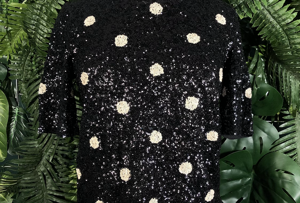 Black and white polka dot sequin top