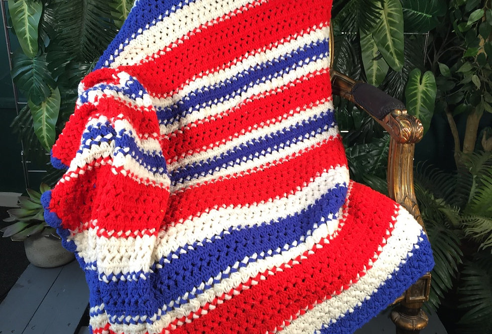 Striped Hand Knit Blanket