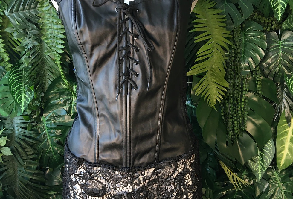 Leatherette corset with lace trim