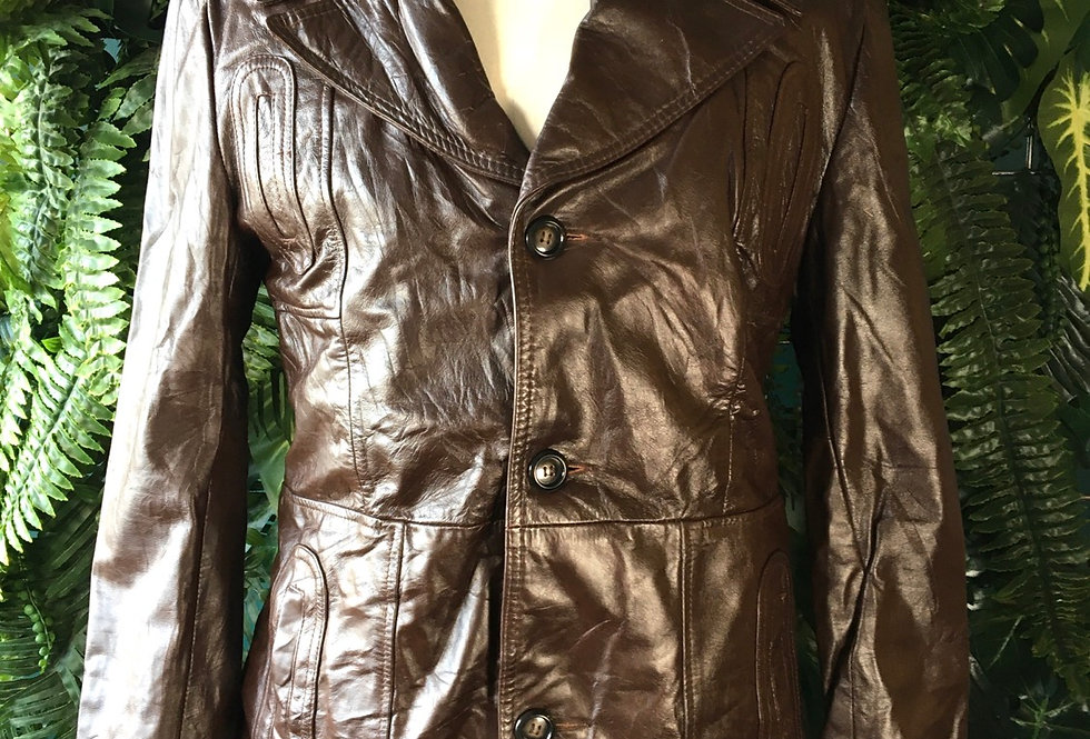90s Fleece Lined Leather Jacket(M/L)
