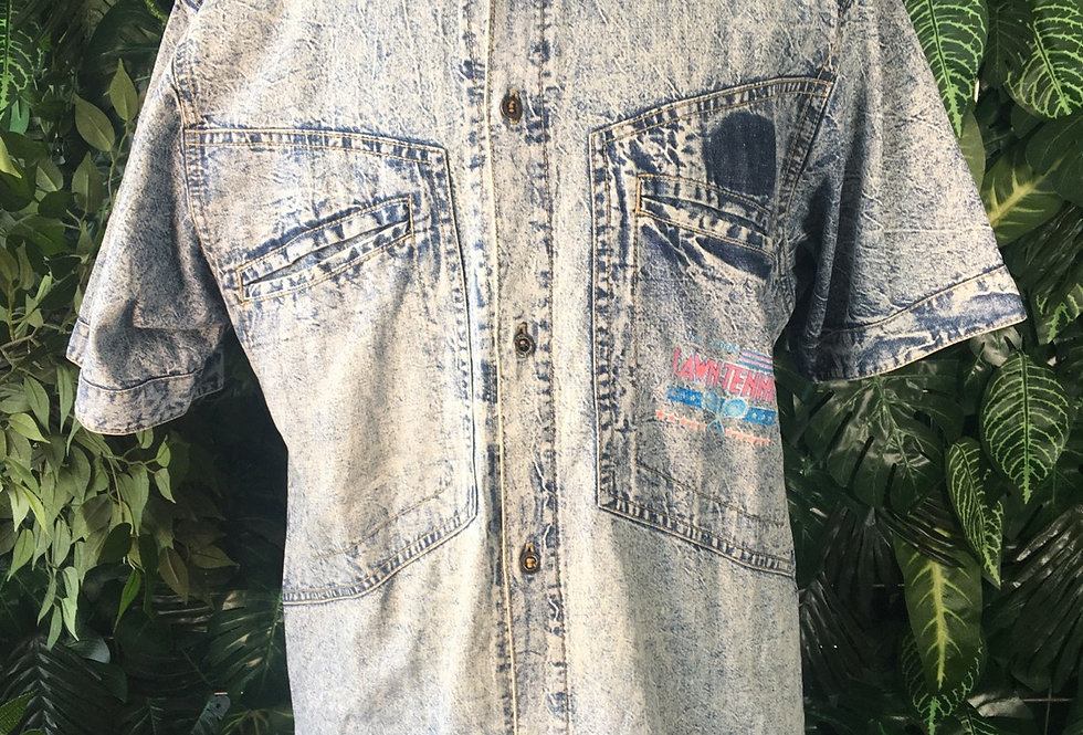 Lawn Tennis stone washed denim shirt (L)