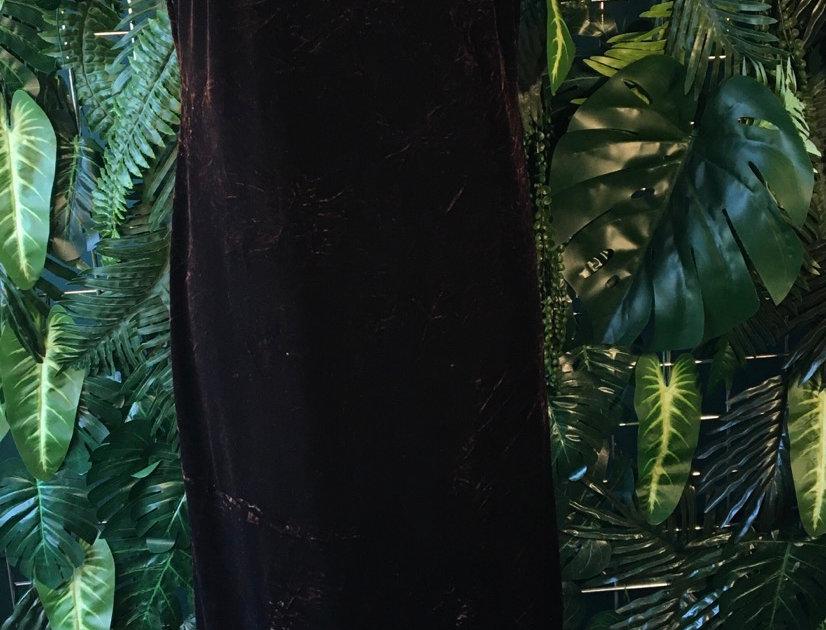 Dark Chocolate Velvet Shift Dress (Size 8)