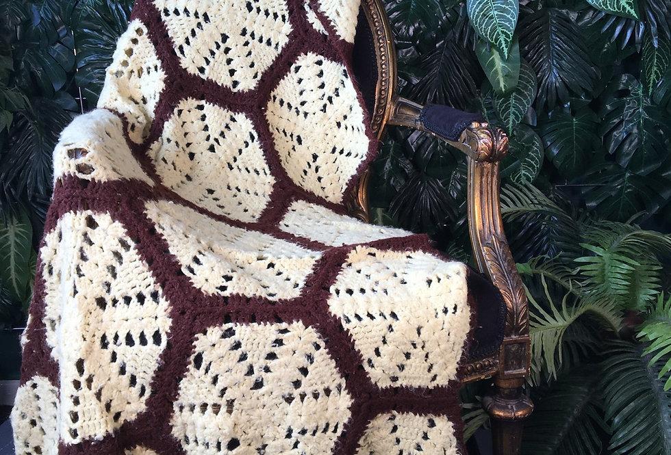 Yellow and brown hexagon handmade blanket