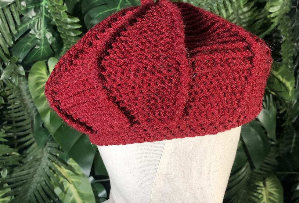 Burgundy web weave wool hat