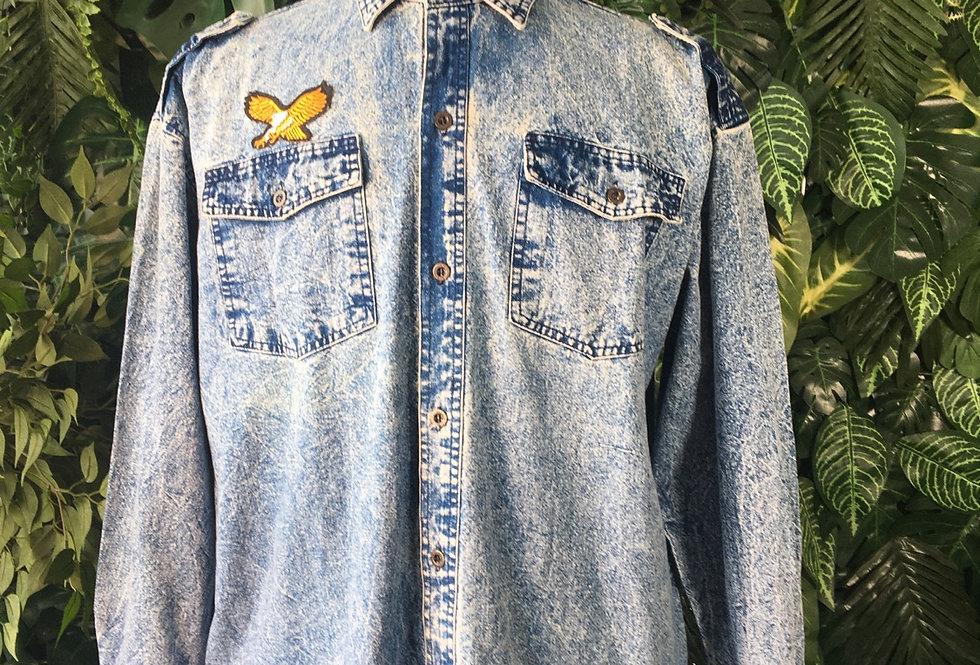 Eagle patch denim shirt (L)