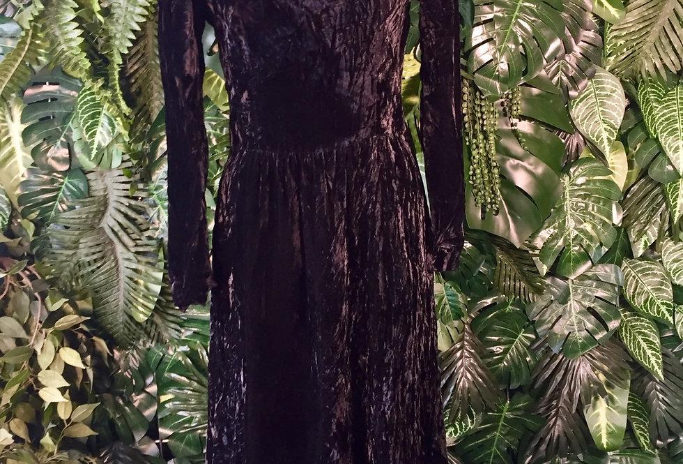 Black velvet evening dress with cutout detail (size 10)