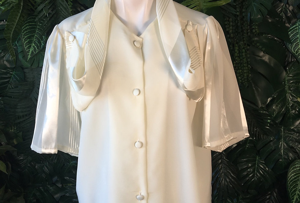Ivory blouse with scarf collar (size 16)