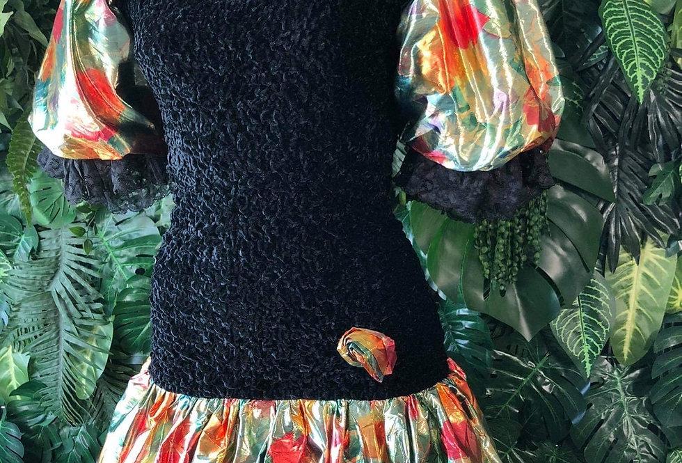 1980s Matalic puff sleeve prom dress