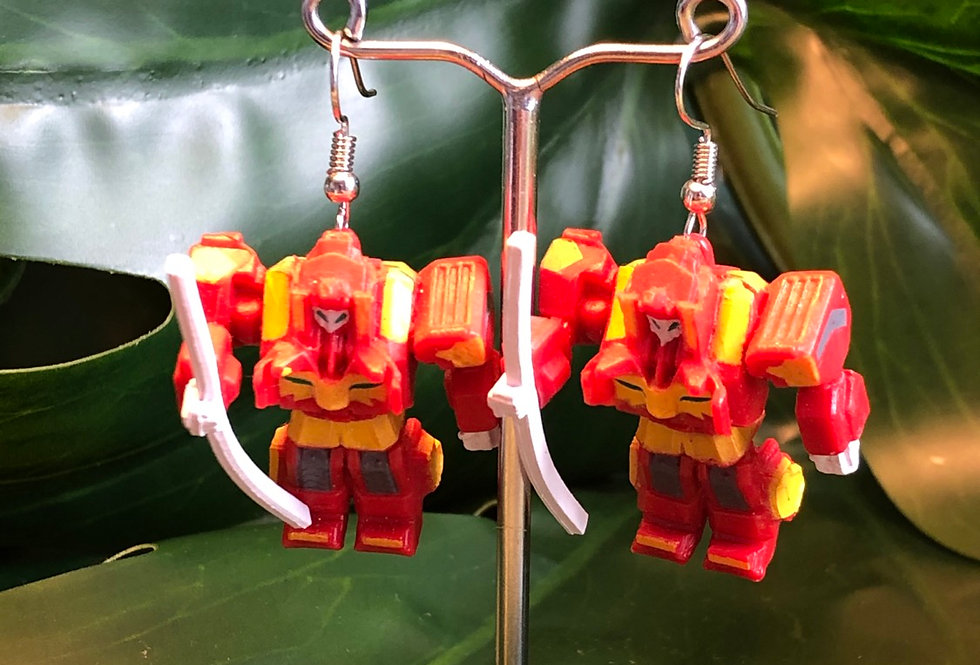 Red robot earrings