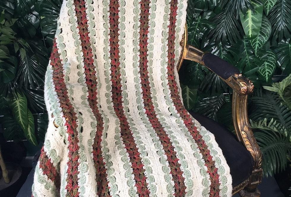 Hand crocheted striped blanket