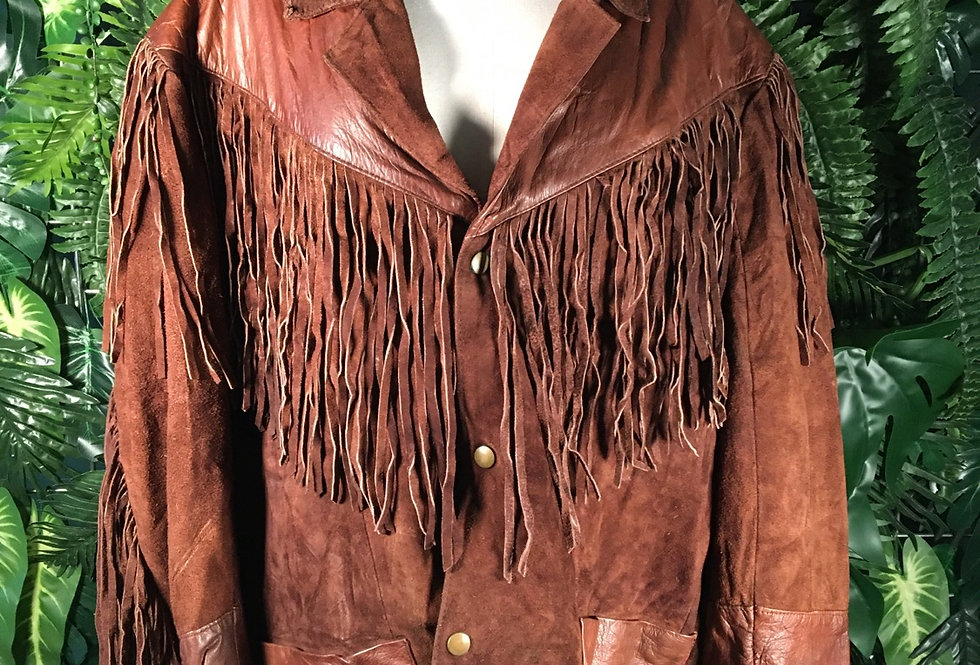 Fringed Mexican Leather Jacket (XXL)
