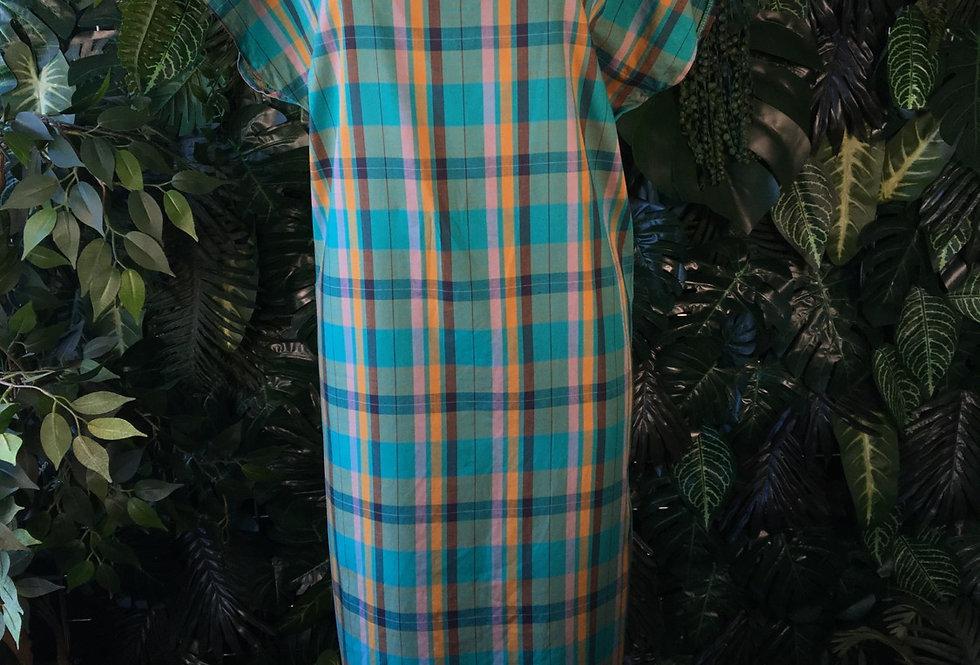 Green plaid shift dress