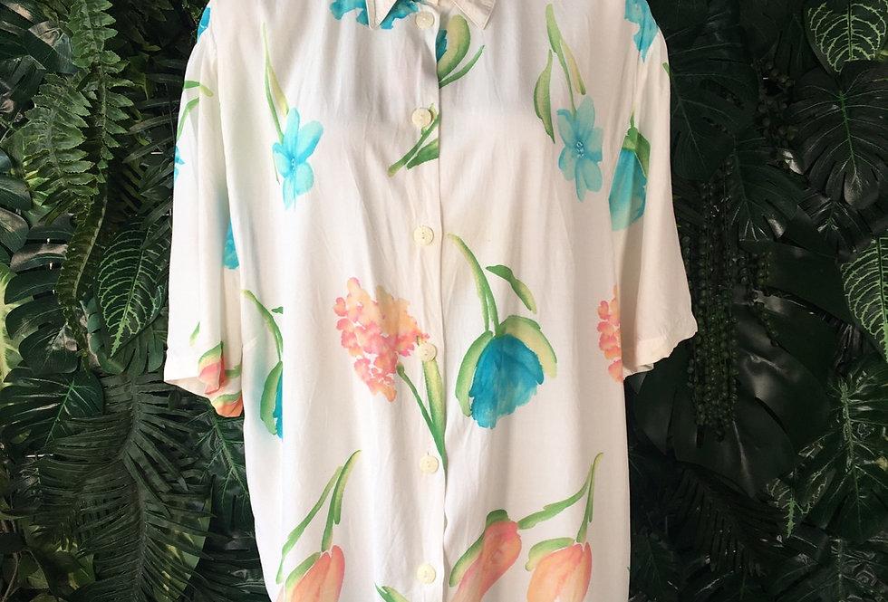 Watercolour flower blouse (size 48)